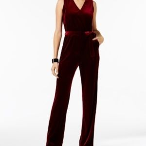 NY Collection Jumpsuit Womens PM Burgundy Velvet